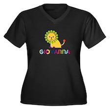 Giovanna the Lion Women's Plus Size V-Neck Dark T-