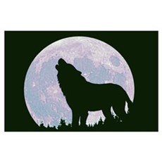 Wolf and Moon Poster