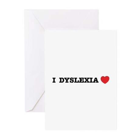 I DYSLEXIA LOVE Greeting Cards (Pk of 10)