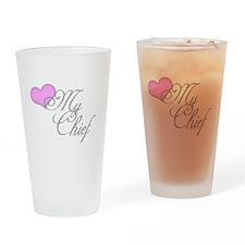 Heart my Chief (Navy Ladies) Drinking Glass