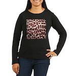 Giraffe Print Women's Long Sleeve Dark T-Shirt