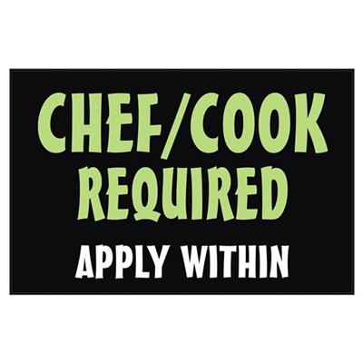 Chef/Cook required Poster
