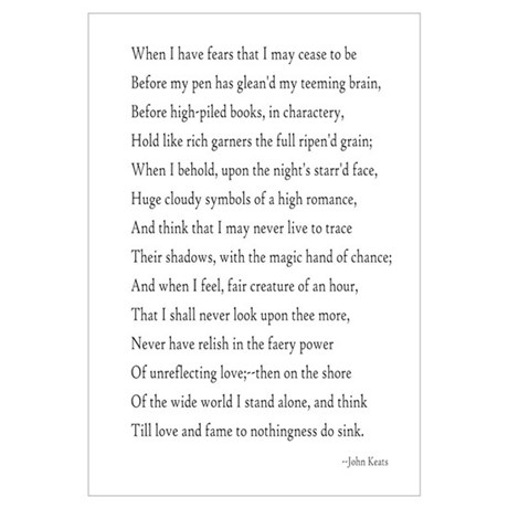 Keats - When I Have Fears... Poster