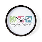 Peace, Love, Finnish Spitz Wall Clock