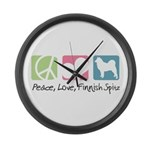 Peace, Love, Finnish Spitz Large Wall Clock