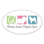 Peace, Love, Finnish Spitz Sticker (Oval 50 pk)