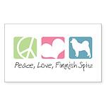 Peace, Love, Finnish Spitz Sticker (Rectangle 10 p