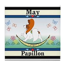 Papillon Calendar Rocking Dog Tile Coaster