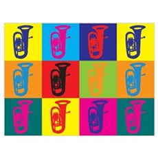 Tuba Pop Art Framed Print