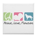 Peace, Love, Flatcoats Tile Coaster
