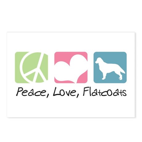 Peace, Love, Flatcoats Postcards (Package of 8)