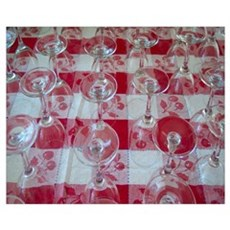Wine Glasses On Red Checked Cloth Poster