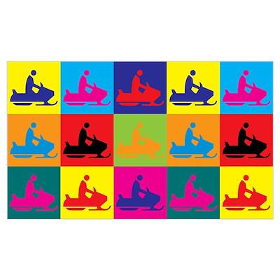 Snowmobiling Pop Art Poster