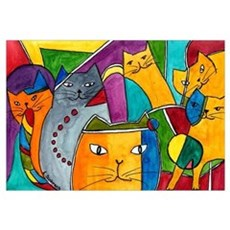 Stained Glass Cats Canvas Art