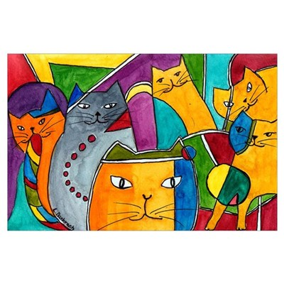 Stained Glass Cats Poster