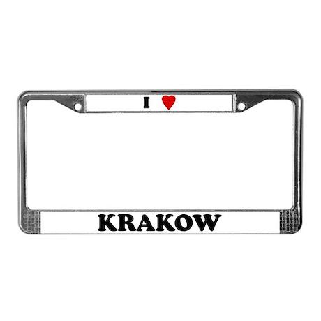 I Love Krakow License Plate Frame