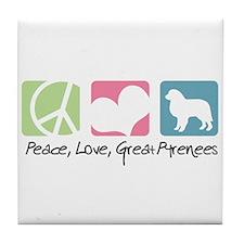 Peace, Love, Great Pyrenees Tile Coaster