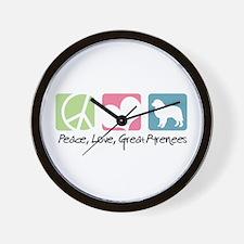 Peace, Love, Great Pyrenees Wall Clock
