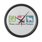 Peace, Love, Great Pyrenees Large Wall Clock