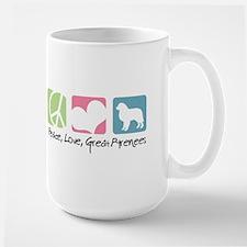 Peace, Love, Great Pyrenees Large Mug