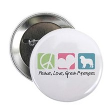 """Peace, Love, Great Pyrenees 2.25"""" Button"""