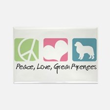 Peace, Love, Great Pyrenees Rectangle Magnet