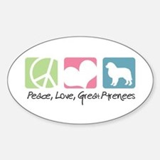 Peace, Love, Great Pyrenees Decal
