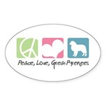 Peace, Love, Great Pyrenees Sticker (Oval 50 pk)