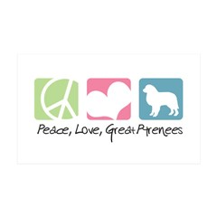 Peace, Love, Great Pyrenees 38.5 x 24.5 Wall Peel