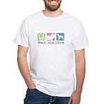 Peace, Love, Swissys White T-Shirt