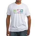 Peace, Love, Swissys Fitted T-Shirt