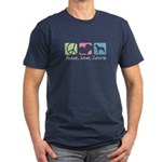 Peace, Love, Swissys Men's Fitted T-Shirt (dark)