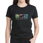 Peace, Love, Swissys Women's Dark T-Shirt