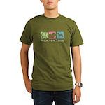 Peace, Love, Swissys Organic Men's T-Shirt (dark)