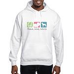 Peace, Love, Swissys Hooded Sweatshirt