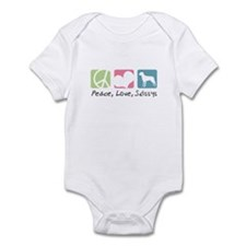 Peace, Love, Swissys Infant Bodysuit