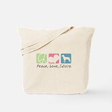 Peace, Love, Swissys Tote Bag