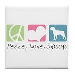 Peace, Love, Swissys Tile Coaster