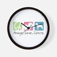 Peace, Love, Swissys Wall Clock