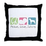 Peace, Love, Swissys Throw Pillow