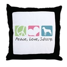 Peace, Love, Swissys Throw Pillow
