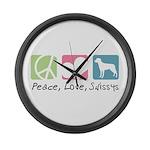 Peace, Love, Swissys Large Wall Clock