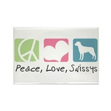 Peace, Love, Swissys Rectangle Magnet (100 pack)