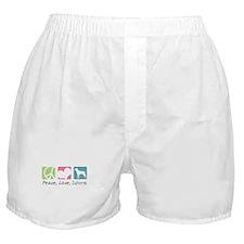 Peace, Love, Swissys Boxer Shorts