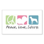 Peace, Love, Swissys Sticker (Rectangle 50 pk)