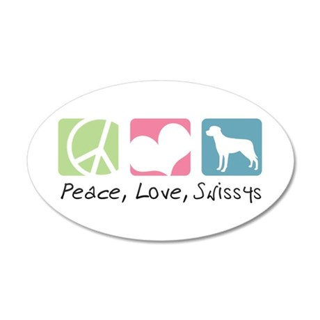 Peace, Love, Swissys 22x14 Oval Wall Peel