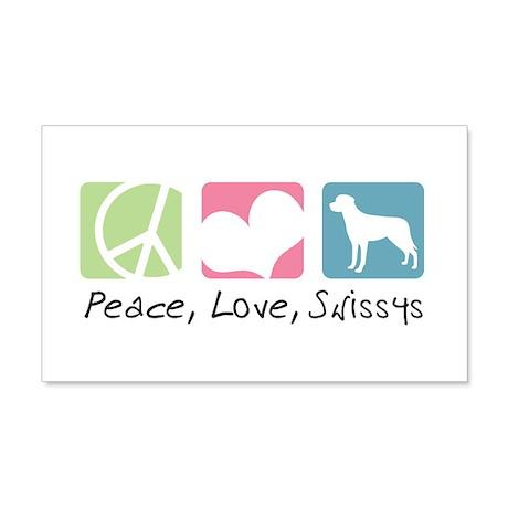 Peace, Love, Swissys 22x14 Wall Peel