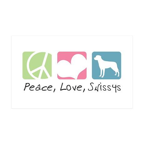 Peace, Love, Swissys 38.5 x 24.5 Wall Peel