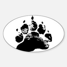 BLACK ABSTRACT BEAR PAW Oval Decal