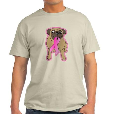 Pink Ribbon Fawn Pug Light T-Shirt